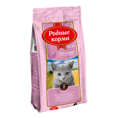 Сухой корм Родные Корма 34/19 для котят с индейкой
