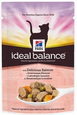 Паучи Hill's Ideal Balance для взрослых кошек, с лососем, 85г