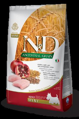 Сухой корм Farmina N&D Ancestral Grain Dog Adult Mini низкозерновой для взрослых собак мелких пород с курицей и гранатом
