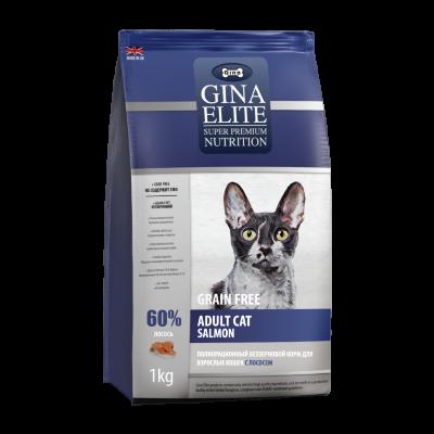 Сухой корм Gina Elite GF Cat Salmon беззерновой  для взрослых кошек Лосось