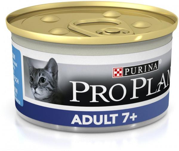 Консервы Pro Plan Adult 7+ для кошек старше 7 лет, мусс с тунцом, 24шт x 85г
