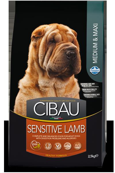 Сухой корм Farmina Cibau Sensitive Medium/Maxi Lamb для взрослых собак средних и крупных пород с чувствительным пищеварением и аллергией