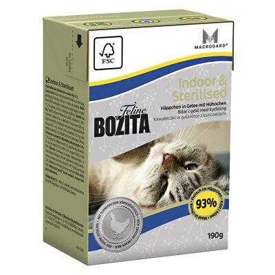 Консервы Bozita Indoor & Sterilised для домашних и стерилизованных кошек кусочки в желе с Курицей, 190г