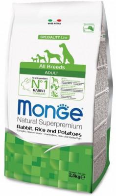 Сухой корм Monge Dog Speciality для собак всех пород, Кролик с рисом