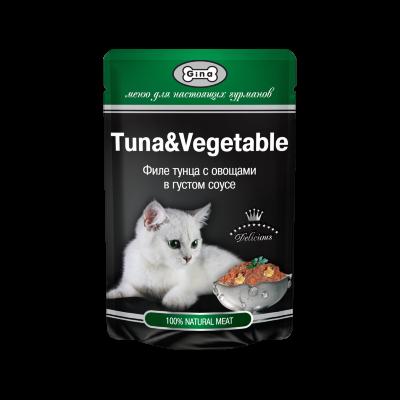 Пауч Gina Tuna & Vegetable для кошек, филе тунца с овощами в густом соусе