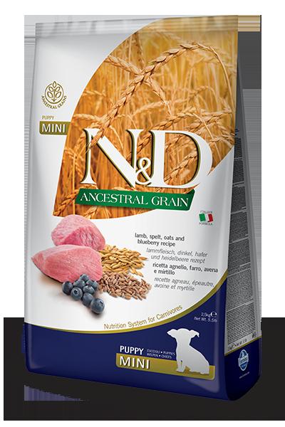 Сухой корм Farmina N&D Ancestral Grain Puppy Mini низкозерновой для щенков мелких пород с ягненком и черникой