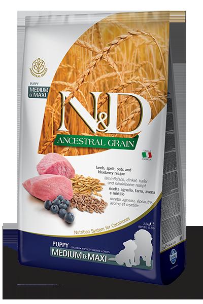 Сухой корм Farmina N&D Ancestral Grain Dog Puppy Medium & Maxi низкозерновой для щенков средних и крупных пород с ягненком и черникой
