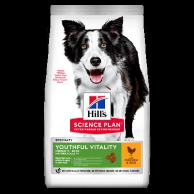 Сухой корм Hill's Science Plan Youthful Vitality для собак средних пород старшего возраста с курицей и рисом