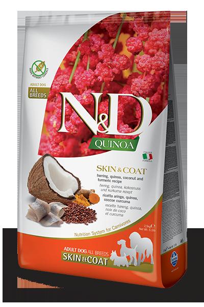 Сухой корм Farmina N&D Quinoa Dog Skin&Coat беззерновой для собак, Здоровье кожи и шерсти, с сельдью