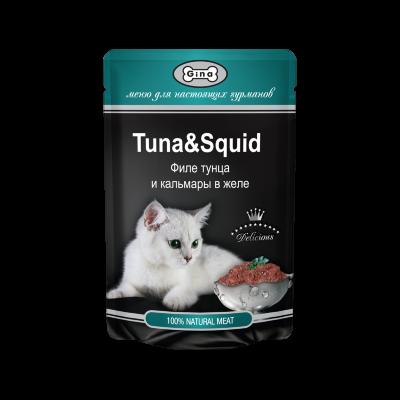 Пауч Gina Tuna & Squid для кошек, филе тунца и кальмары в желе