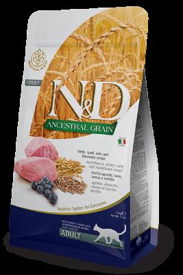 Сухой корм Farmina N&D Ancestral grain Adult низкозерновой для взрослых кошек с ягненком и черникой