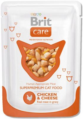 Паучи для кошек Brit Care Chicken&Cheese с курицей и сыром