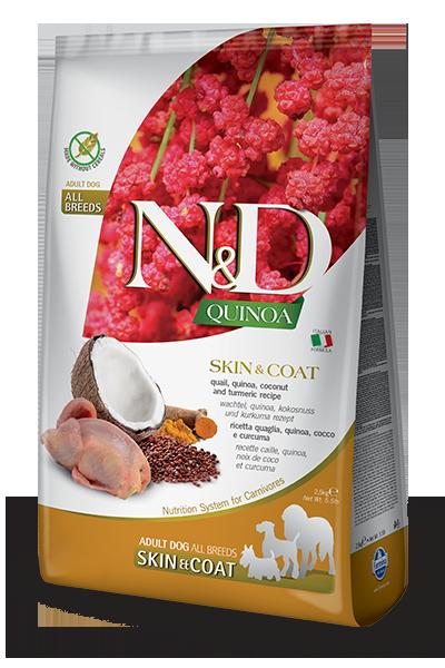 Сухой корм Farmina N&D Quinoa Dog Skin&Coat Quail беззерновой для собак, Здоровье кожи и шерсти, с перепелом