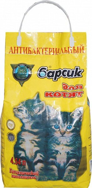 Наполнитель для кошачьего туалета Барсик для котят впитывающий 4,54 л