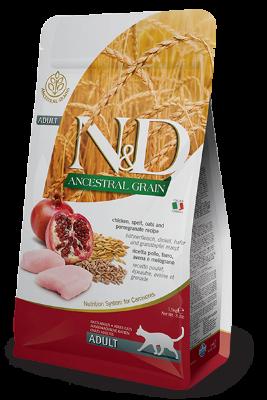 Сухой корм Farmina N&D Ancestral grain Adult низкозерновой для взрослых кошек с курицей и гранатом