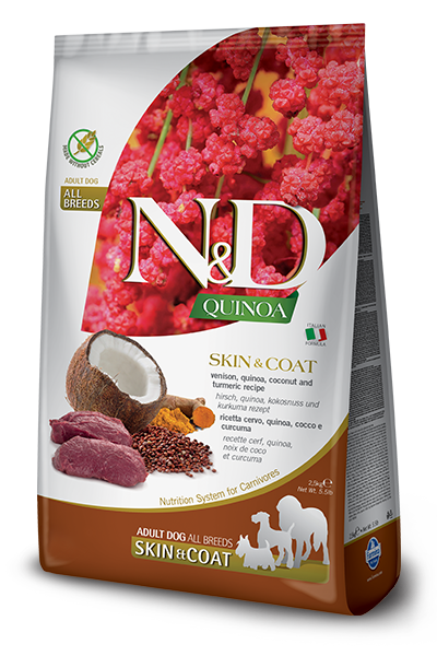 Сухой корм Farmina N&D Quinoa Skin&Coat Venison беззерновой для собак,  Здоровье кожи и шерсти, с олениной