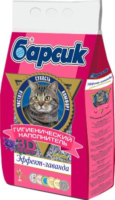 Наполнитель для кошачьего туалета Барсик Эффект Лаванда впитывающий 4,54 л