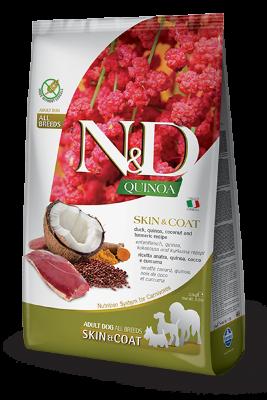 Сухой корм Farmina N&D Quinoa Skin&Coat Duck беззерновой для собак, Здоровье кожи и шерсти, с уткой