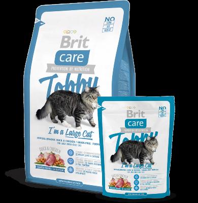 Гипоаллергенный cухой корм Brit Care Cat Tobby для кошек крупных пород, беззерновой, с уткой и курицей