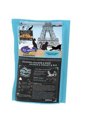 Сухой корм Bon Appetit Cat Adult Sterilized для стерилизованных кошек с Лососем. Курицей и Рисом