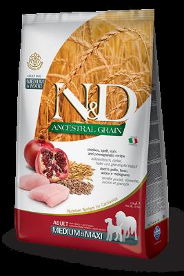 Сухой корм Farmina N&D Ancestral Grain Dog Adult Medium & Maxi низкозерновой для взрослых собак средних и крупных пород с курицей и гранатом