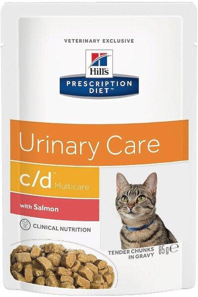 Паучи Hill's Prescription Diet c/d Multicare для профилактики МКБ у кошек, с лососем, 12шт x 85г