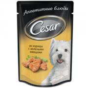 Паучи Cesar для собак Курица с зелеными овощами, 24x100г