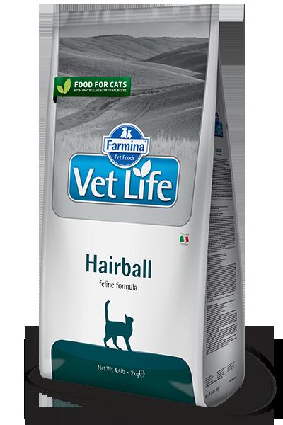 Сухой корм Farmina Vet Life Cat Hairball для снижения образования и выведения шерстяных комочков из ЖКТ у кошек