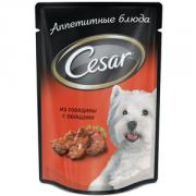 Паучи Cesar для собак Говядина с овощами, 24x100г