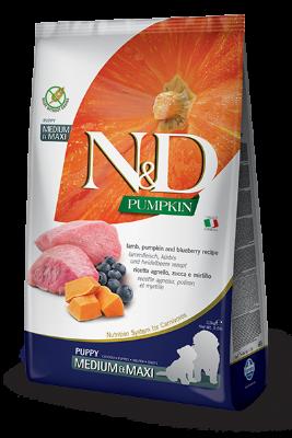 Сухой корм Farmina N&D Pumpkin Lamb&Blueberry Puppy Medium&Maxi беззерновой для щенков средних и крупных пород с ягненком, тыквой и черникой