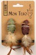 Игрушка для кошек Mon Tero Eco Мышь с перьями и кошачьей мятой (2шт х 5см)