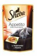 Паучи Sheba Appetito для кошек в желе с телятиной и языком, 24x85г
