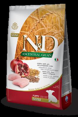 Сухой корм Farmina N&D Ancestral Grain Puppy Mini низкозерновой для щенков мелких пород с курицей и гранатом