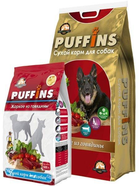 Сухой корм для собак «PUFFINS» Жаркое из говядины