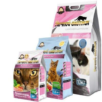 Сухой корм для кошек Ночной охотник Ягненок и рис
