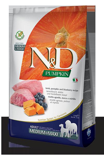 Сухой корм Farmina N&D Pumpkin Lamb&Blueberry Adult Medium&Maxi беззерновой для собак средних и крупных пород с ягненком, тыквой и черникой