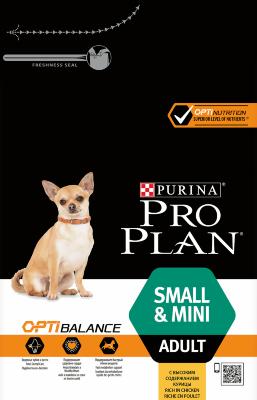 Сухой корм Pro Plan Small & Mini Adult для взрослых собак мелких и мини пород с курицей и рисом