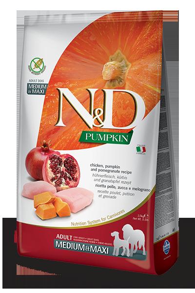 Сухой корм Farmina N&D Pumpkin Chicken&Pomegranate Adult Medium&Maxi беззерновой для взрослых собак средних и крупных пород с курицей, тыквой и гранатом