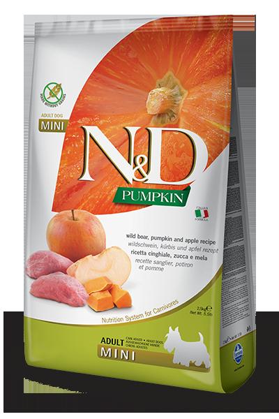 Сухой корм Farmina N&D Pumpkin Boar&Apple Adult Mini беззерновой для собак мелких пород с кабаном, тыквой и яблоком
