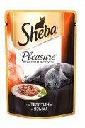 Паучи Sheba Pleasure с телятиной и языком, 24x85г