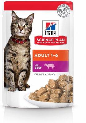 Паучи Hill's Science Plan для взрослых кошек, с говядиной, 85г
