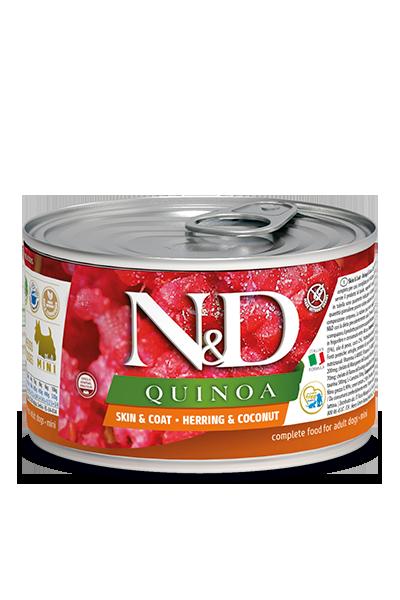 Консервы Farmina N&D Quinoa Skin&Coat Herring для взрослых собак, кожа и шерсть, с сельдью