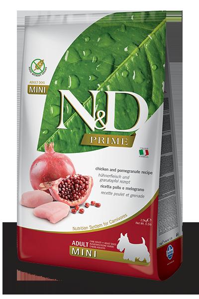 Сухой корм Farmina N&D Prime Adult Mini беззерновой для взрослых собак мелких пород с курицей и гранатом