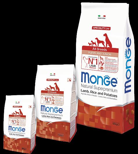 Сухой корм Monge Dog Speciality Puppy & Junior для щенков всех пород Ягненок с рисом
