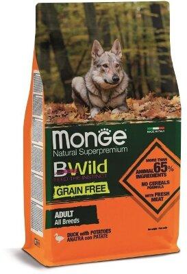 Сухой корм Monge Dog Grain Free беззерновой для собак всех пород, Утка с картофелем