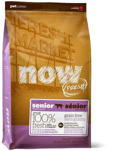 Сухой корм NOW Fresh Senior контроль веса - для взрослых и пожилых кошек, беззерновой с индейкой, уткой и овощами
