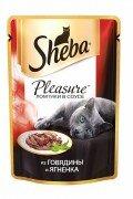 Паучи Sheba Pleasure с говядиной и ягненком, 24x85г
