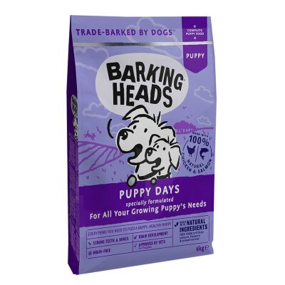 """Сухой корм Barking Heads для щенков с лососем и курицей """"Щенячьи деньки"""""""