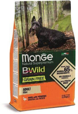 Сухой корм Monge Dog Grain Free Mini беззерновой для собак мелких пород, 2.5кг