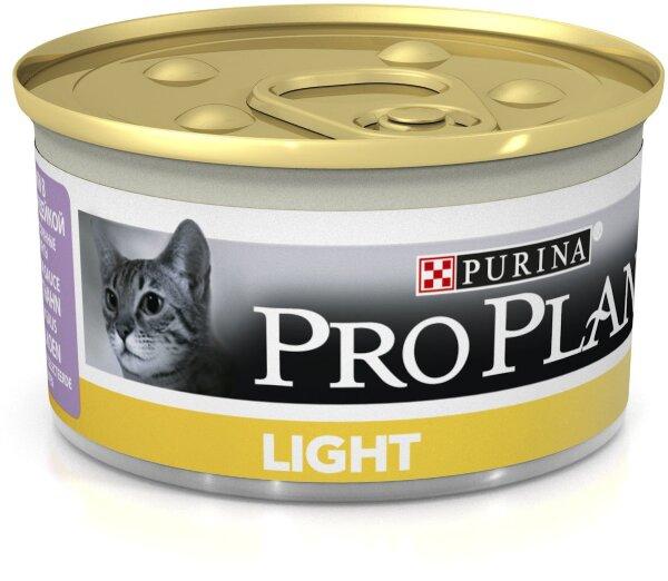 Консервы Pro Plan Light для кошек, низкокалорийные с индейкой, 24шт x 85г